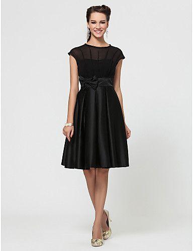 vestido de dama de honra uma linha de jóias na altura do joelho chiffon e cetim com arco (s) - BRL R$ 249,97