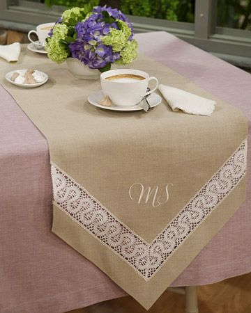 Lace-Inset Table Runner Sew a beautiful lace-inset table runner with a romantic, classic appeal, then add embroidered initials for a personalized touch. Get the How-To