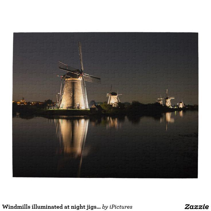 Windmills illuminated at night jigsaw puzzle