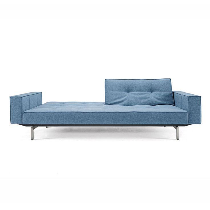 True Blue Sofa with Stainless Steel Legs   dotandbo.com