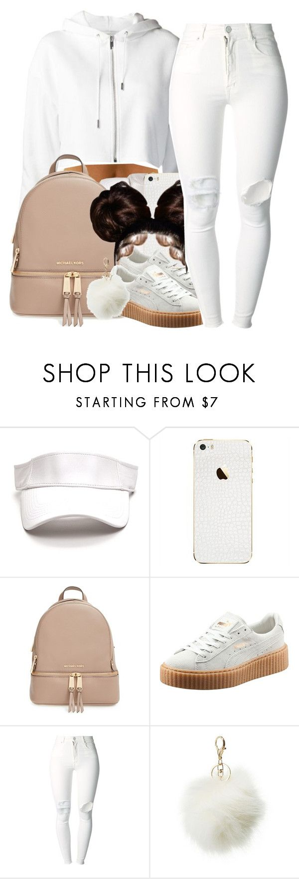 """""""all white EᖇᖇYTᕼIᑎG-Rihanna Pumas"""" by yani122 ❤ liked on Polyvore featuring MICHAEL Michael Kors, Puma, (+) PEOPLE and Charlotte Russe"""