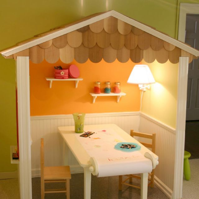 Inside play house. Cute for girls room!
