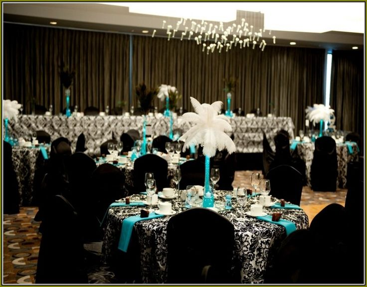 Turquoise Black And White Wedding Centerpieces Wedding Wedding Centerpieces Damask