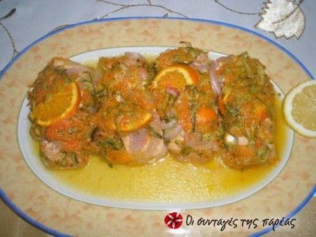 Σολομός με πορτοκάλι - λεμόνι