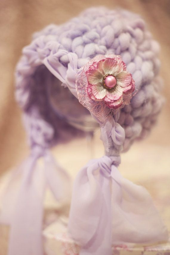 OOAK  Lilac Hand Knit Baby Hat  Newborn Size by AnnWo on Etsy