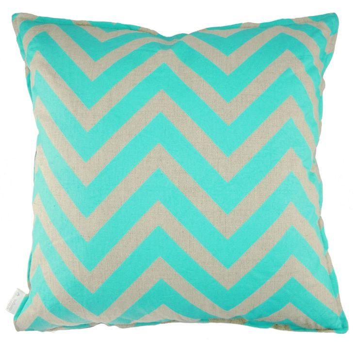 Cushion: Linen Aqua Chevron + Cross - hardtofind.