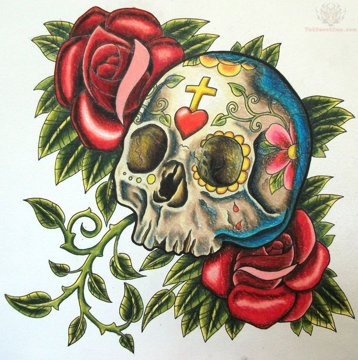 Sugar Skull And Roses Tattoo Sketch