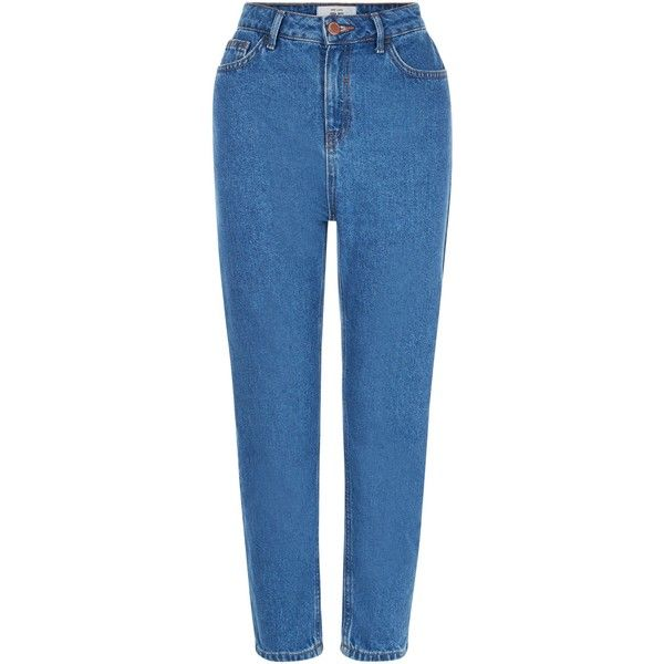 New Look Dark Blue Mom Jeans (55 130 LBP) ❤ liked on Polyvore featuring jeans, pants, duck egg, dark blue jeans, blue jeans and new look jeans