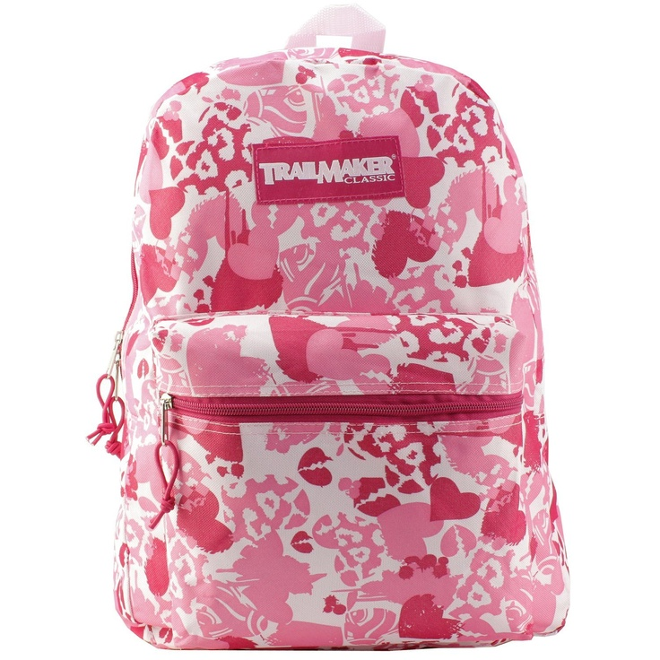 Pink Camo Backpack with Hearts
