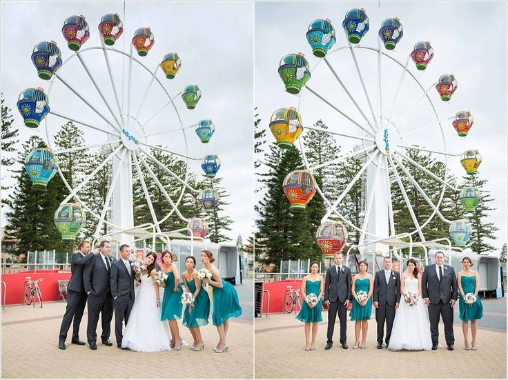 Took the bridal party to the Beach House for some fun photos in front of the carousel!  Photo Credit: Jade Norwood Wedding Photography Reception: Stamford Grand Glenelg Ceremony: St Mary's Church - North Adelaide Classic wedding style.