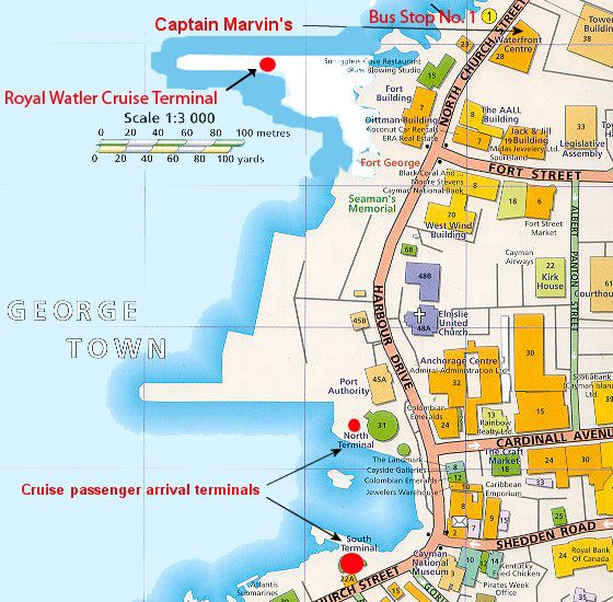 Cruise port map on Grand Cayman Island