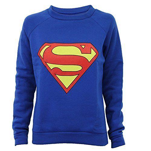 Damen Sweatshirt Oberteil Pullover Batman Superman Logo Aufdruck Fleece Freizeit New - M/L, Königsblau - Superman