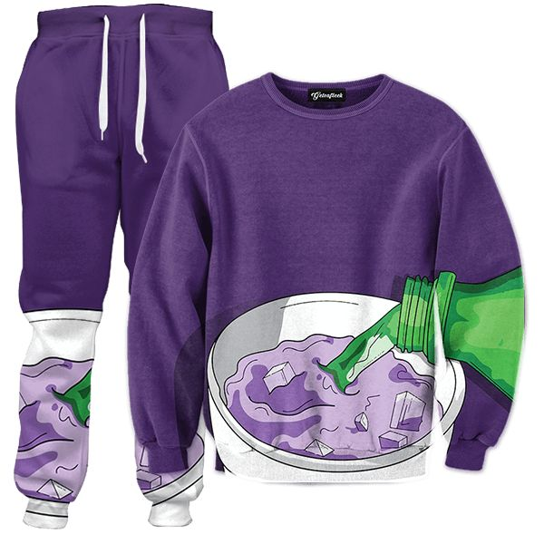 "Getonfleek™ presents the appetizing Codeine Creation tracksuit, a faithful representation of the purple drink_""Žs creation. Add a dash of Sprite soda pop to that icy cough syrup to keep its texture smooth and tasty. Listen to the ice cubes splash around the Styrofoam cup while the lean sizzles. Now that your purple drink is ready, take it to the club or party and sip the night away. Drink responsibly. This stuff can mess you up."