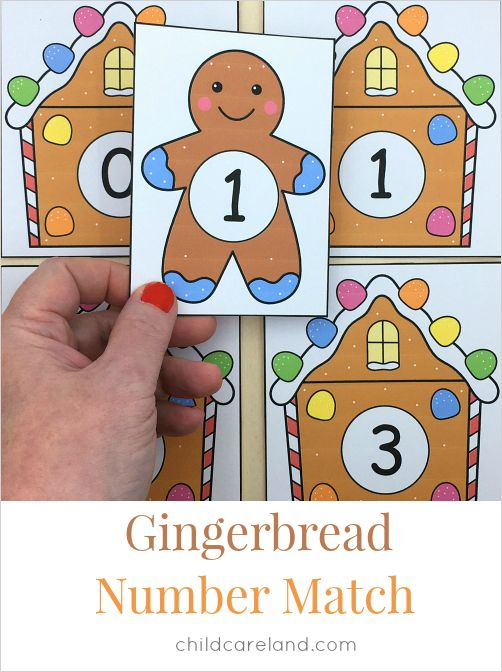 Gingerbread number match number recognition and fine motor development.