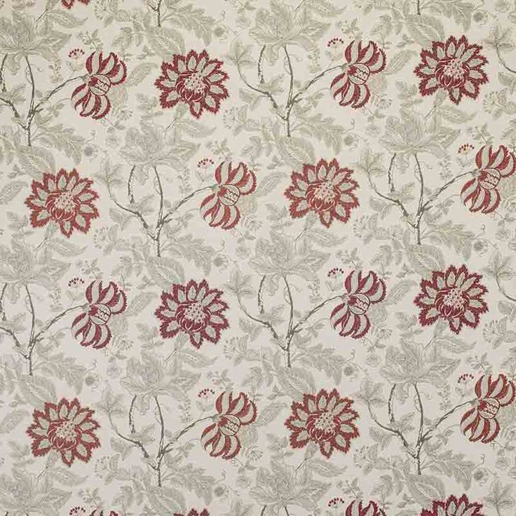 Warwick Fabrics : BLOOMSBURY, Colour SCARLET