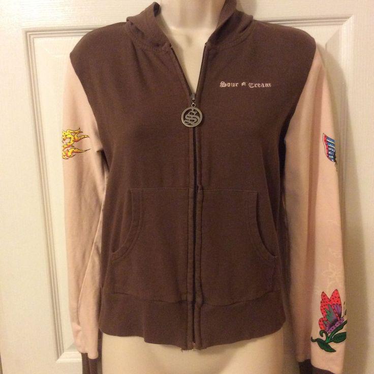 Sour N Cream womens Zip up Medium Graphic Embellished jacket #sourncream #BasicJacket