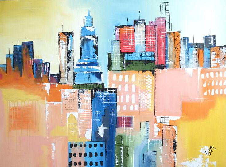 """For Sale: cityscape art landscape painting original art palette knife textured colorful artwork canvas painting framed ready to hang city view infrastructure art blue orange yellow white black green red teal original art by PooviArtGallery 