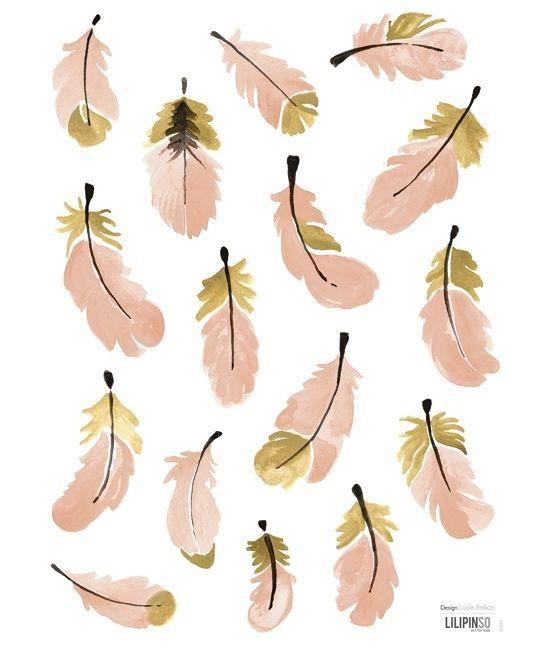 Muurstickers Kinderkamer Lilipinso: Flamingo Veertjes Roze