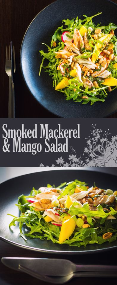 Smoked Mackerel Salad with Mango Recipe: This smoked mackerel salad uses some flavourings from the east combined with mango to cut through the richness and saltiness of the smoked mackerel.
