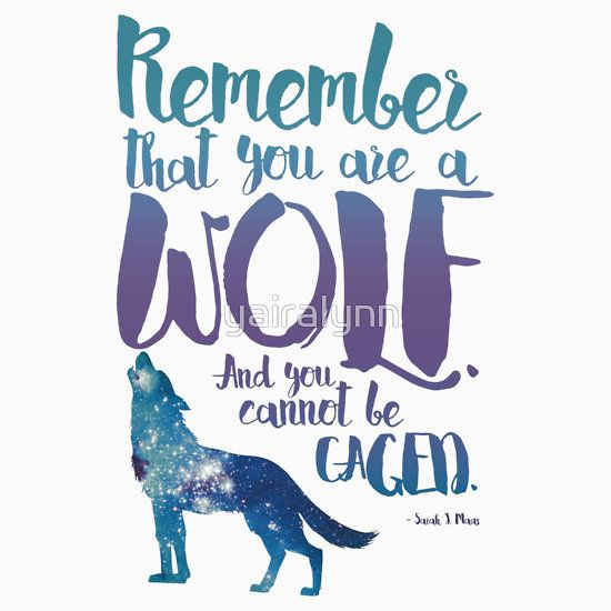 Remember that you are a wolf. And you cannot be caged. ― Sarah J. Maas, A Court of Wings and Ruin