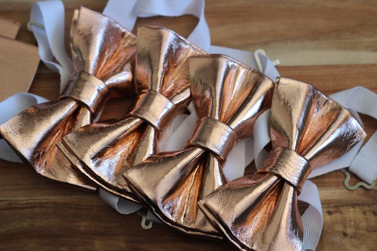 Lot of Rose Gold leather bow ties for groomsmen,rose gold wedding bow tie, gold boys bowtie, gold bow tie, copper bow tie, toddler bow tie by NevesticaWeddings on Etsy