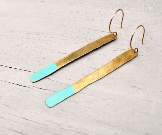 Dipped Branch Earrings- Hammered Brass, Hand- Painted Turquoise