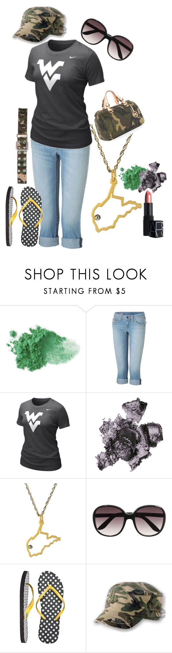 """""""WV"""" by not-your-southern-bell ❤ liked on Polyvore featuring NYX, True Religion, NIKE, By Terry, Maya Brenner, H&M, MICHAEL Michael Kors, Atlantis Caps and NARS Cosmetics"""