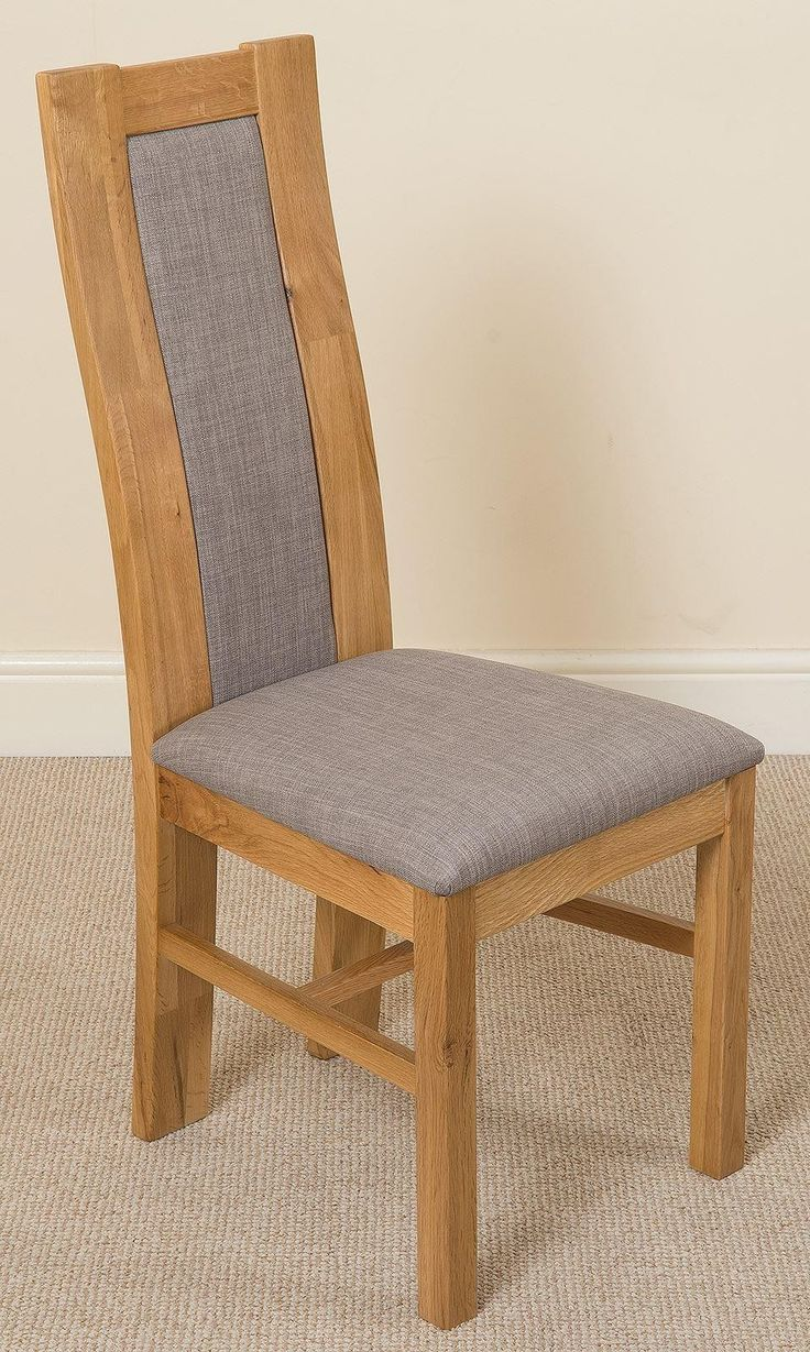 Stanford Solid Oak Dining Chair [Light Oak and Grey Fabric]  The very popular Stanford chairs are made of 100% solid oak and feature a high back design with a light grey premium fabric seat & back rest.