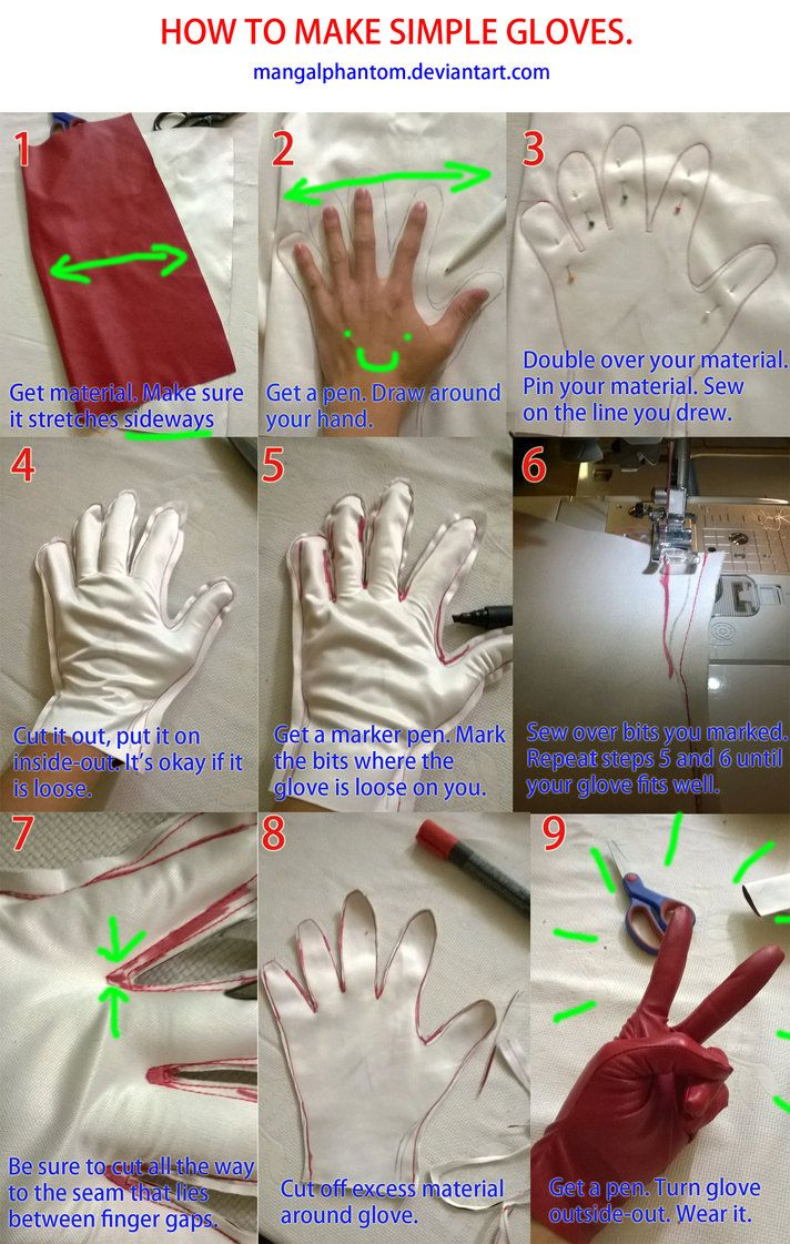 How to Make Simple Gloves by  mangalphantom    View the full tutorial here:http://mangalphantom.deviantart.com/art/Gloves-Tutorial-481064346