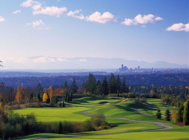 Newcastle Golf Club with beautiful view of downtown Seattle and Olympic Mountains