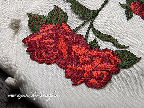 1 parche de flor rosa roja pieza recortar parche de Venise