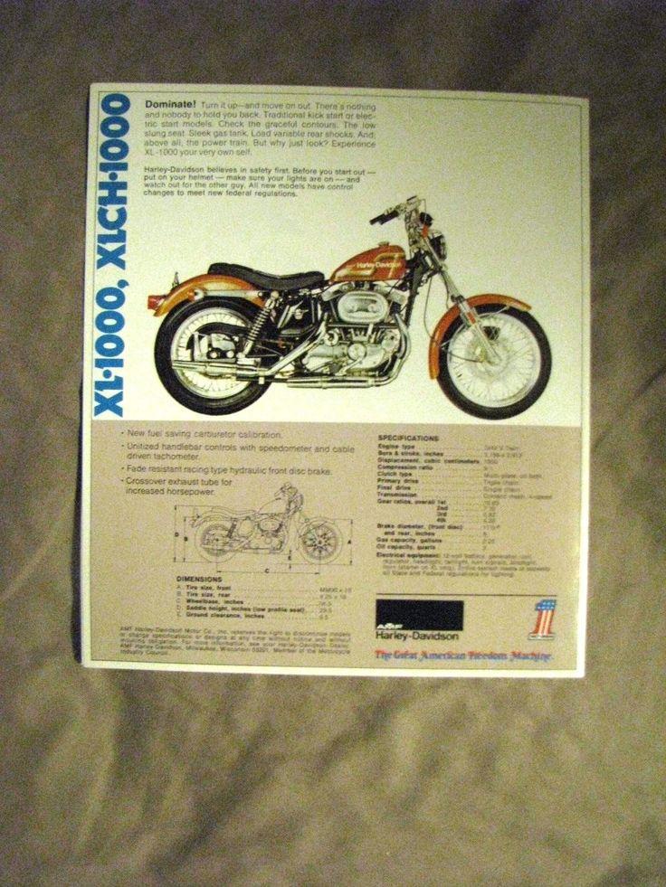 An original 1975?. AMF Harley Davidson V Twin Motorcycles dealer brochure. FX & FXE-1200. | eBay!