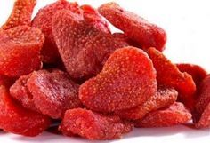 Dried Strawberries    Halve or quarter the strawberries (depending on size) and bake in oven at 200 degrees F for 3 hours. These taste amazing, almost like candy and are very healthy for you! Yummy!