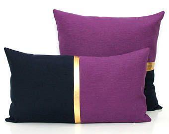 Purple Pillow, Dark Blue Pillow Purple Cushion Cover Color Block Metallic Gold Pillow Navy Pillow Pantone 2018 12x20 18x18