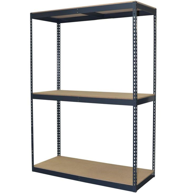 96 in. H x 60 in. W x 24 in. D 3-Shelf Steel Boltless Shelving Unit with Double Rivet Shelves and Laminate Board Decking, Powder Coated Steel Color Gray
