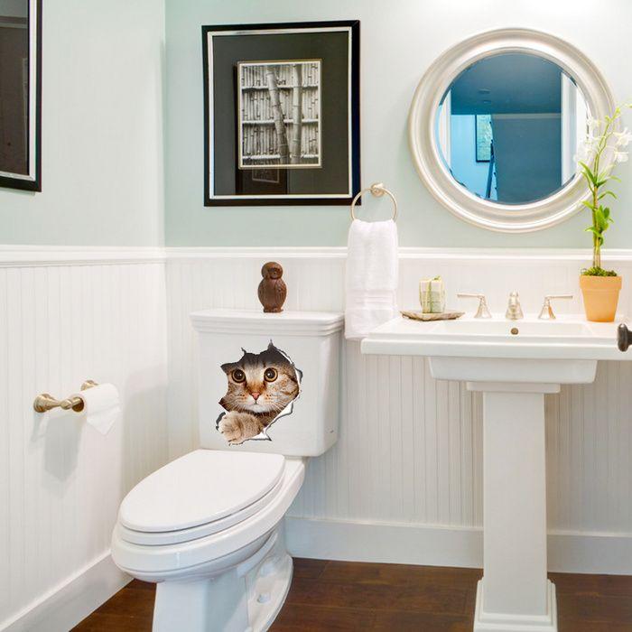 Cute Cat Dog 3D Waterproof Self-Adhesive Wall Stickers DIY Toilet Decals L/&6