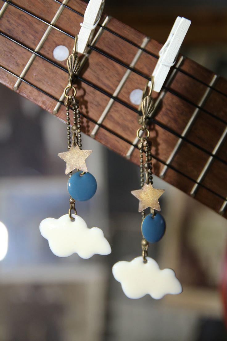 Boucles d'oreilles sequin nuage /étoile : Boucles d'oreille par mi-novembre