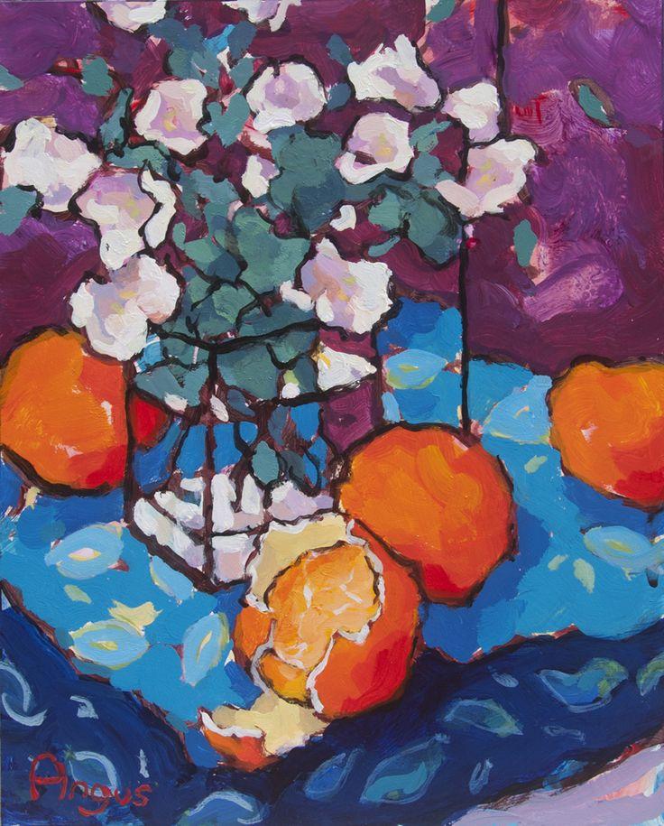 Study of Oranges on Blue