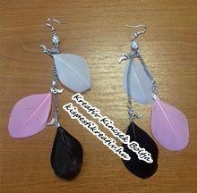 Madártollból készült fülbevalók - egyedi színösszeállításban
