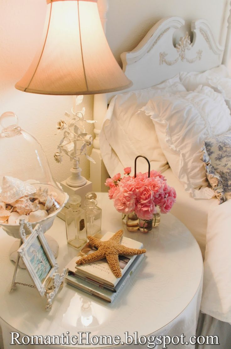 Round Fabric Covered Night Stand  Beautifully Romantic Bedroom