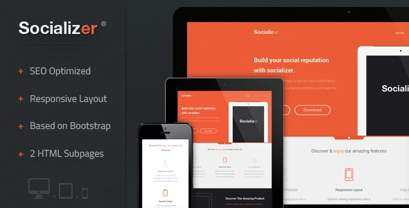 Socializer - Responsive Landing Page  - ThemeForest Item for Sale