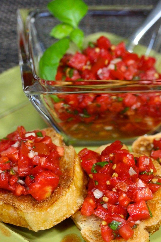 Classic Bruschetta with Tomatoes, Basil and Garlic - La Bella Vita Cucina