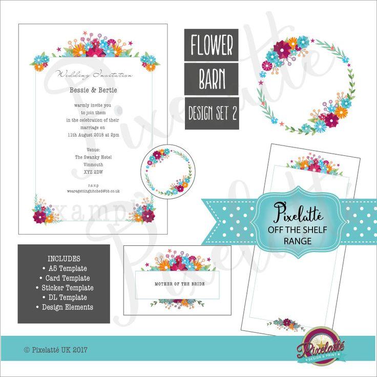 Digital Floral Design, Download, Round Border, Logo, Wedding, Invite, Bouquet, Flowers, A5, DL, Templates, Label, Sticker, Flyer, Price List by PixelatteUK on Etsy