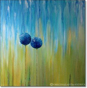 Pintura acrílico Floral lienzo arte abstracto contemporáneo