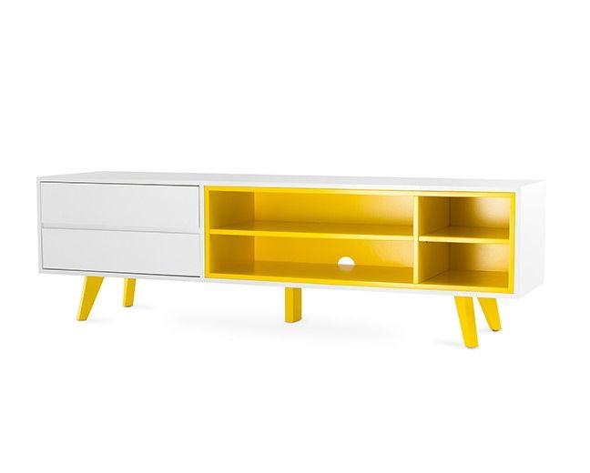 Sala De Tv Com Rack Amarelo ~  Design Retrô, Racks Amarelo, Libia Amarelo, Tem Design, Amarelo Tem