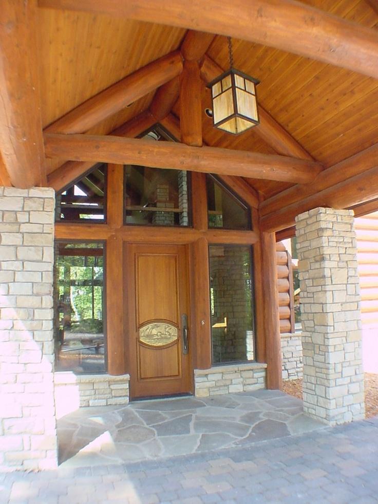 Log home front entrance log home pinterest for Log house doors