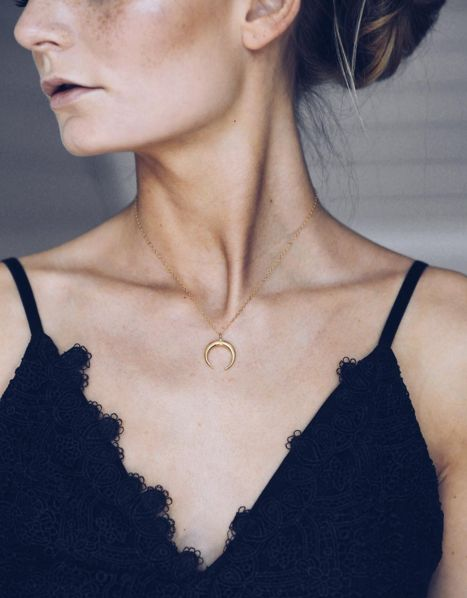 Double crescent moon necklace available in gold, rose gold and sterling silver by Amanda Deer Jewelry. #jewelry