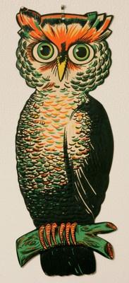Terrific Vintage Large Beistle Halloween Owl Decoration Die Cut