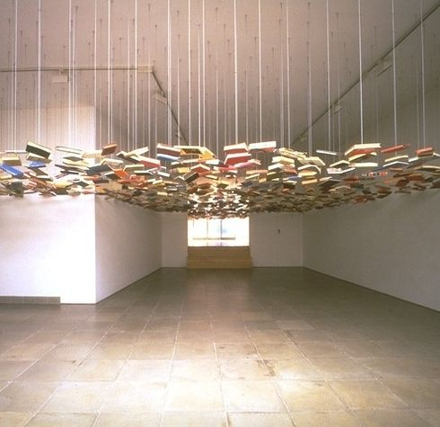 """Suspended """"Bookshelf"""" Installation by Richard Wentworth   22 Dreamy Art Installations You Want To Live In"""