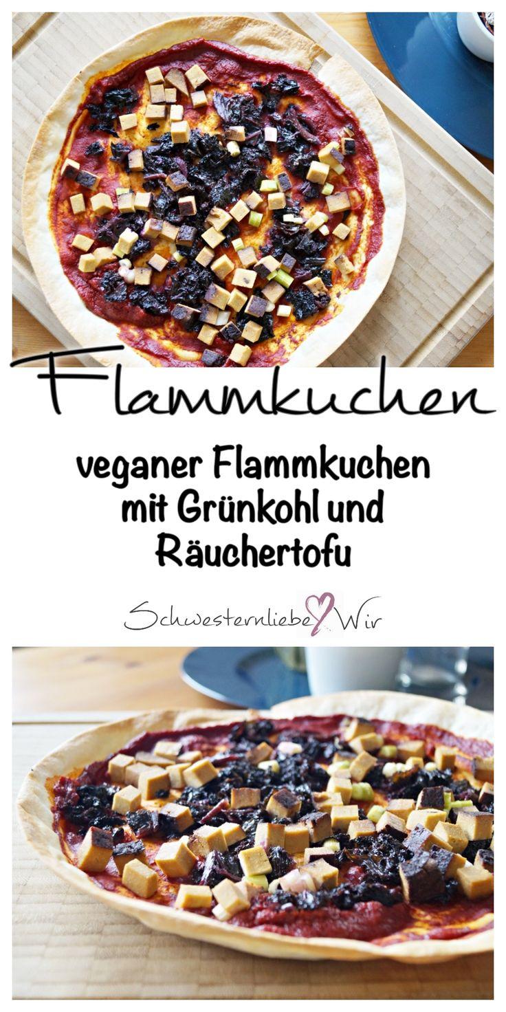 veganer Flammkuchen: Winteressen mit Grünkohl und Räuchertofu.  #vegan #winteressen #grünkohl